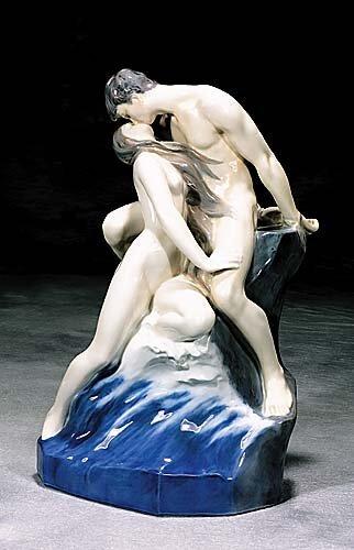 16: Royal Copenhagen porcelain 'Wave On Rock'