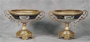Pair Sevres style porcelain tazzas each c