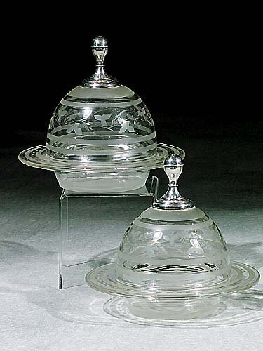 400: Pair etched glass and silver-mounted dis