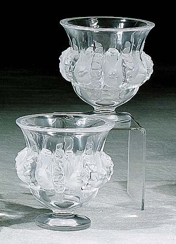 403: Pair Lalique crystal love bird vases eac