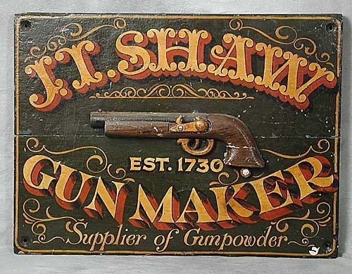 406A: Gun maker's sign early 20th century pai
