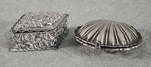 422: Two sterling miniature boxes circa 1900