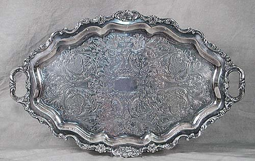 424: American silverplate serving tray, by Wa