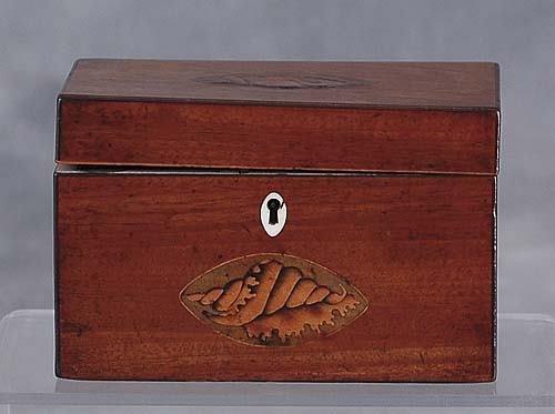 005: George III inlaid mahogany tea caddy circa 1790