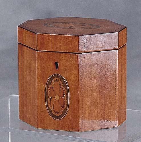 006: Georgian style inlaid satinwood tea caddy