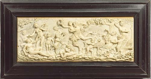 011: Continental carved ivory bacchanalian panel 19th c