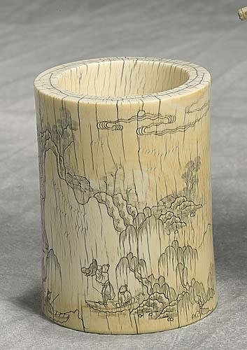 012: Japanese carved ivory brushpot early 20th century