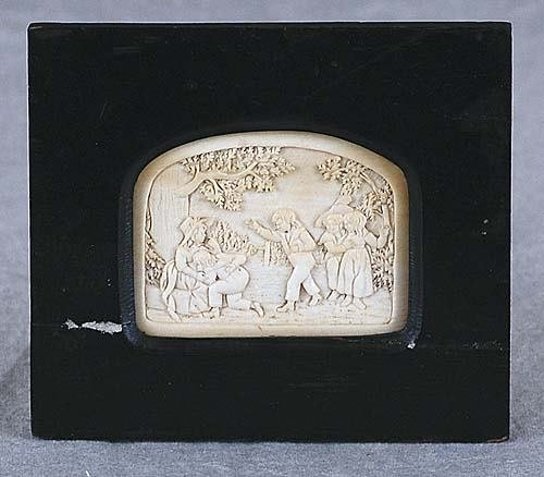 014: Carved ivory miniature plaque 19th century