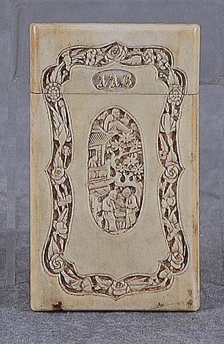 015: Chinese carved ivory card case 19th century