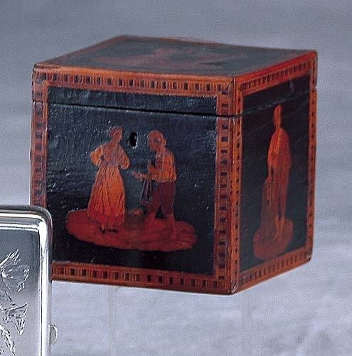 020: Continental inlaid and marquetry tea caddy mid 19t