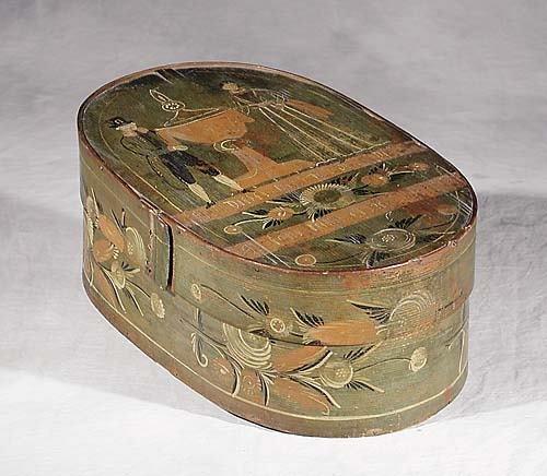 022: Folk art painted box 19th century