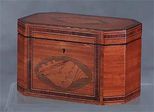 Georgian style inlaid satinwood double tea caddy