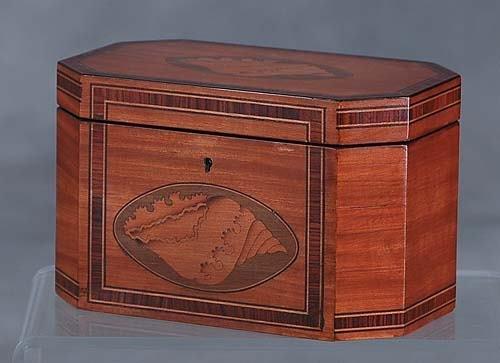404: Georgian style inlaid satinwood double tea caddy