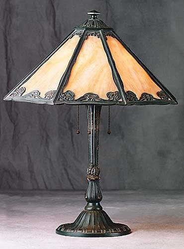 407: American cast-metal and stained glass lamp Date:ea