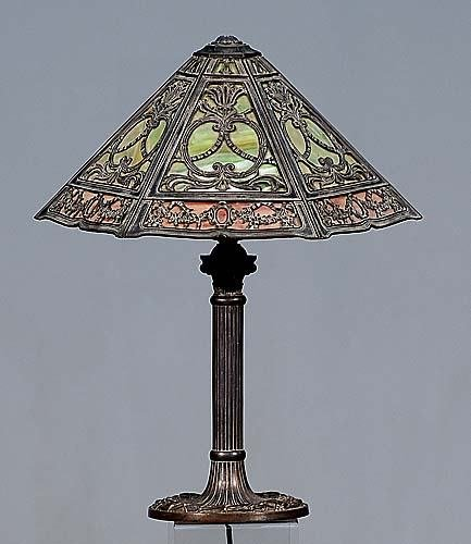 410: American cast-metal and stained glass lamp Date:ea