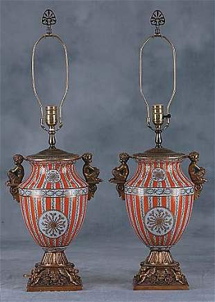 Pair porcelain and bronze-mounted lamps