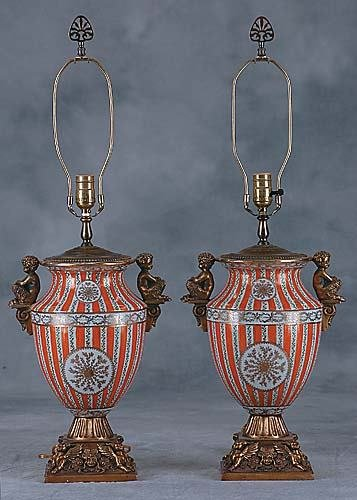 411: Pair porcelain and bronze-mounted lamps