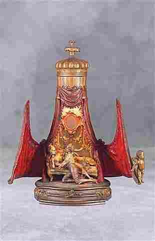 Austrian cold-painted bronze figural lamp Date:cir