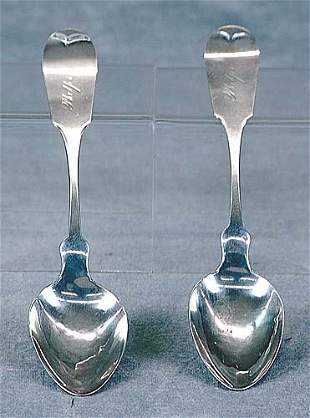 Pair coin silver spoons, by Washington M. Root Dat