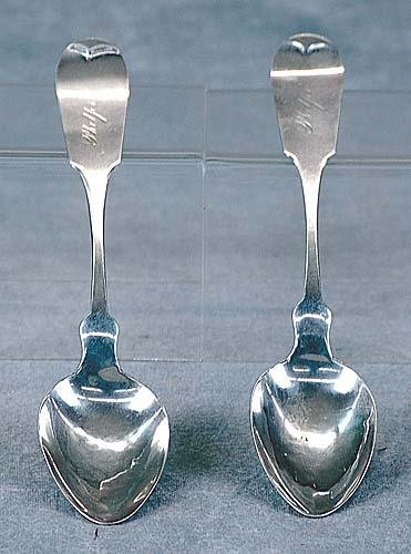 418: Pair coin silver spoons, by Washington M. Root Dat