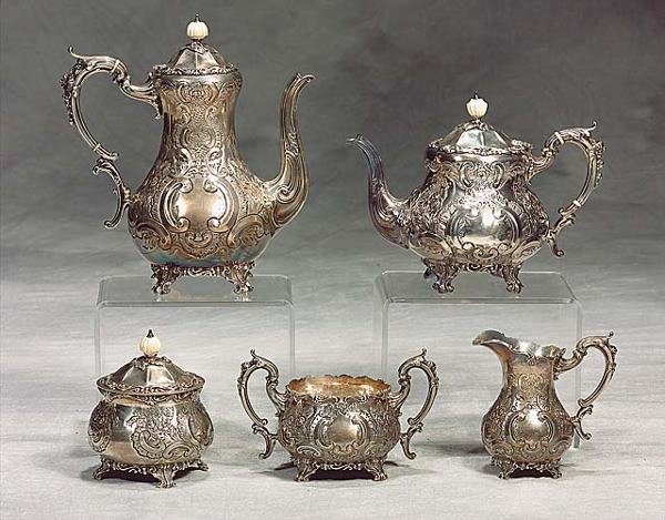 421: English sterling silver tea and coffee service Dat
