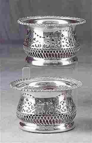 Pair silverplate wine coasters Date:late 19th cent