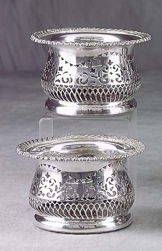 422: Pair silverplate wine coasters Date:late 19th cent