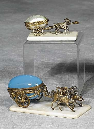 001: Two French trinket boxes   circa 1900   horse-draw