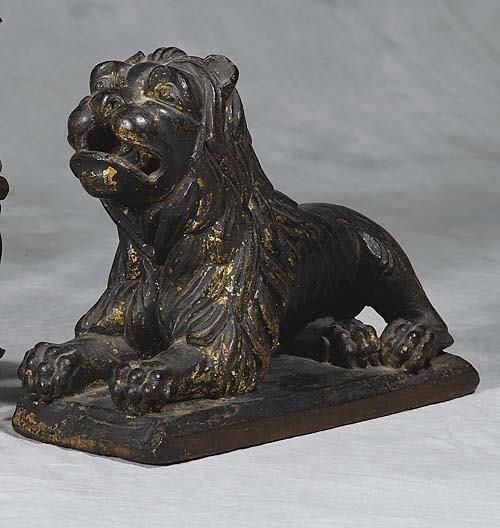 010: Carved wood figure of foo lion   19th century   li