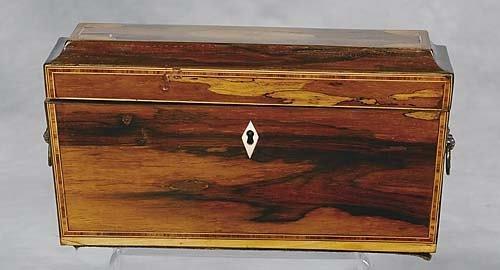 017: Georgian style inlaid rosewood tea caddy   mid 19t