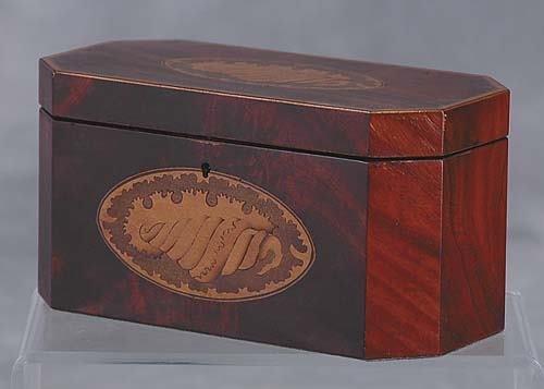 020: Georgian style inlaid mahogany double tea caddy