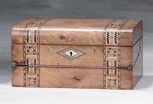 021: English inlaid olive lap desk   19th century   hin