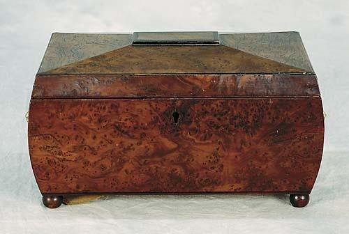 023: English burl walnut tea caddy   mid 19th century