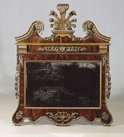 303: George II style mahogany and giltwood wall mirror