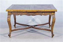 379 Continental carved ash drawleaf table   early 20t