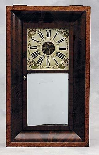 431: Clarke, Gilbert & Co mahogany mantel clockmid 19th