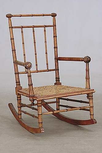 444: Aesthetic faux bamboo rocking chair, possibly by R