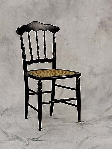4: Pair black lacquered and cane side chairs early 20th
