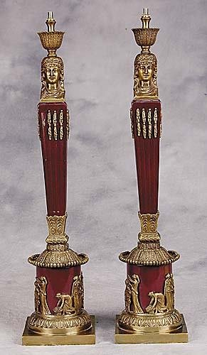 17: Pair Egyptian Revival style column lamps