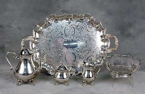 19: American silverplate coffee service, tray and baske