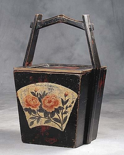 21: Chinese painted wooden storage box
