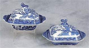 176 Two transferware ironstone covered vegetable dishe