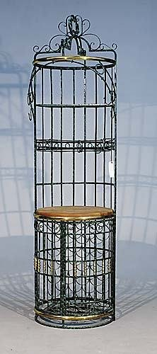593: Wrought-iron wine rack and bar