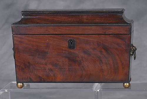 001: Regency mahogany tea caddy circa 1815 sarcophagus