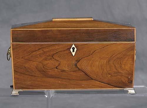 002: Regency rosewood tea caddy circa 1830 casket form
