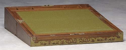 003: Mahogany and brass-bound lap desk late 19th centur