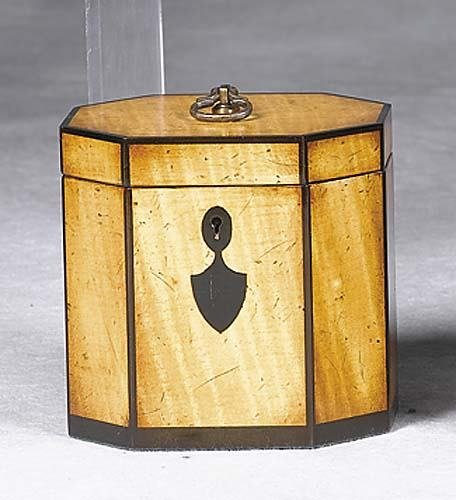 004: Georgian style inlaid satinwood tea caddy octagona