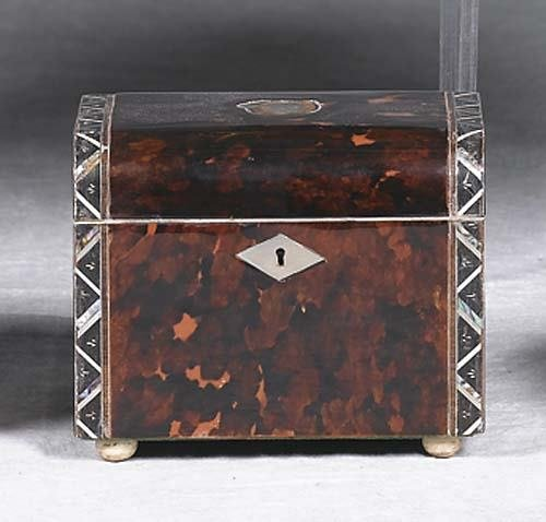 006: Victorian inlaid tortoise tea caddy late 19th cent