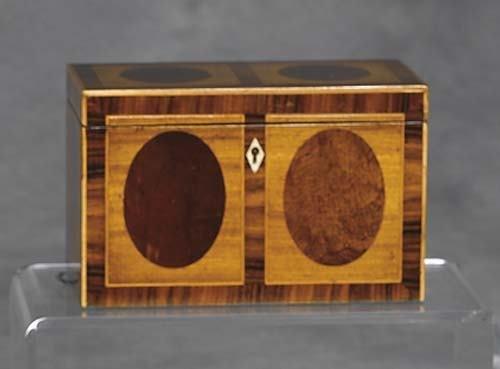 010: Georgian style inlaid satinwood tea caddy rectangu