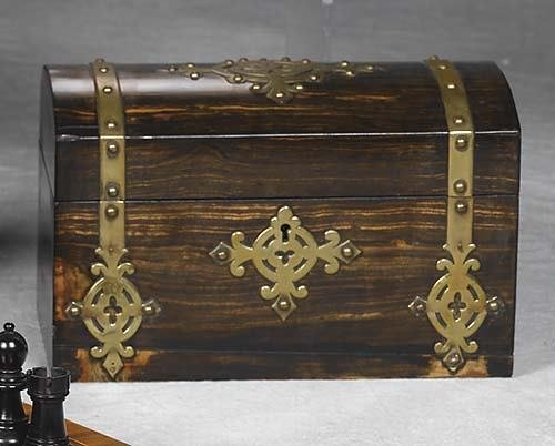 011: Victorian brass-bound rosewood tea caddy late 19th